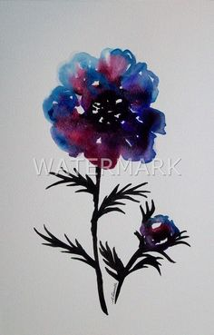 Abstract Flower , original watercolour (not print) on 240g paper approx: 12 x 8inch / 31 x 20cm. FREE SHIPPING $40.00 USD