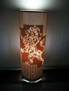 leão luminaria em pvc cano de pvc,artesanato em pvc,pvc pontilhada