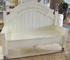 Gorgeous bench made from an old headboard and foot board.
