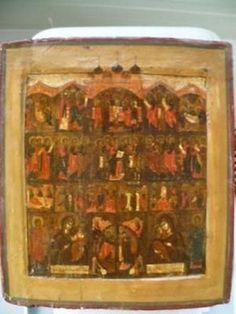 "ANTIQUE RUSSIAN IKON, ICON,ICONS ,ICOON OF THE 17TH CENURY ""ICONOSTASIS"""