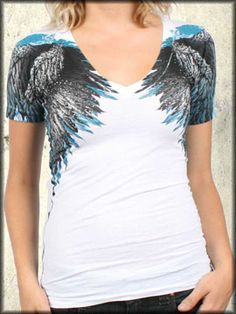 47be1cfb4176 Rock Rebel Clothing - Affliction Isis Angel Wings Feathers Rhinestones  Womens Short Sleeve V-Neck T-Shirt in White - Sinful UK