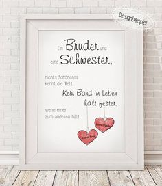 """_""""BRUDER & SCHWESTER""""_ **Bitte beim Kauf alle relevanten Daten mit angeben:** ~… _ """"BROTHER & SISTER"""" _ ** Please specify when buying all relevant data: ** ~ name ~ If a different color for the heart is desired, then synonymous in the checkout with … Gifts For Brother, Brother Sister, Funny Sister, Brother Birthday, Baby Love Quotes, Boy Quotes, Family Quotes, Mother Quotes, Sister Quotes"""