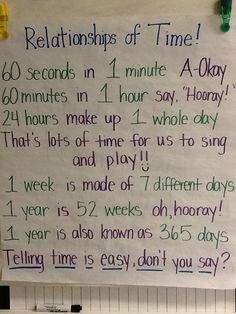 Fun Song to teach your kiddos Relationships of Time (60 seconds in 1 minute, 60 Minutes in 1 hour, etc.)