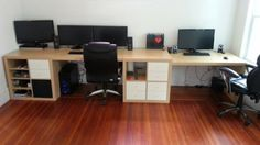 Wall to Wall Huge Desk Hack with Kallax or Expedit