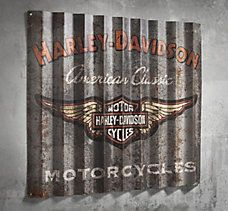 "Corrugated Metal Sign Retro cool. Hang the Corrugated Metal Sign in your man-cave, garage, basement, or backyard deck. Corrugated aluminum sign made from 040 aluminum Direct-printed graphics on grey background Rust-resistant for indoor or outdoor use Measures 36"" x 32"" #HarleyDavidson"