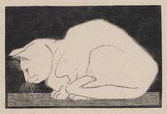 White cat, - woodcut- 1919, M. C. Escher. Dutch (1898 - 1972)