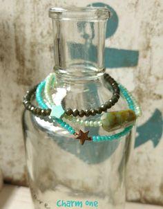 Freundschaftsbänder - Zartes Armband ★ Glasperlen oliv Türkis Stern - ein Designerstück von charm_one bei DaWanda