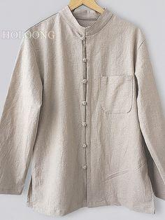 Gray Linen Tang shirts Originality Men Shirts
