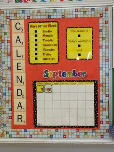 Scrabble theme calendar board using CTP's Poppin' Patterns Calendar Set
