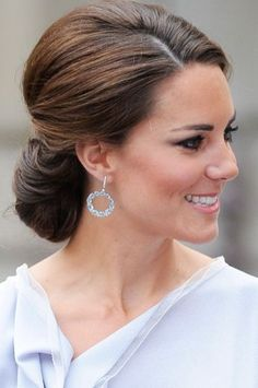 Kate Middleton Hair Style - (JULY 2012) An elegant low chignon for a Creative Industries reception at the Royal Academy of Arts to support the Government's GREAT Campaign.