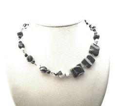 SALE zebra jaspis asymmetric necklace natural stone door deBATjes