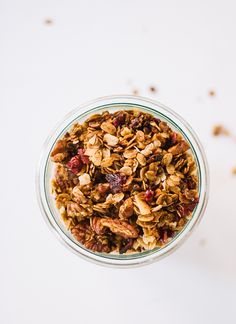 Gingerbread granola. I've made this recipe with modifications and loved it! Great to mix and match with spices, nuts, and fruits. I found that the baking time was too long, as it scorched the nuts. Watch granola very carefully while baking.