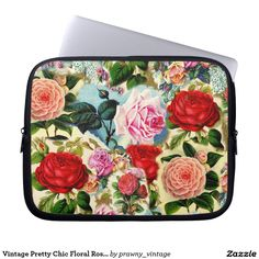 Vintage Pretty Chic Floral Rose Garden Collage Laptop Computer Sleeve