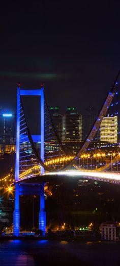 Famous Bosphorus Bridge at night, Istanbul, Turkey | TOP 11 Reasons to Visit Istanbul