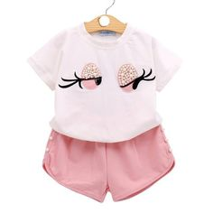 Sodawn Baby Girl Clothes Fashion Cartoon Girls Summer Set Clothes Baby Suits Kids T Shirt +Pants Children Clothing Set Baby Girl Fall Outfits, Cute Girl Outfits, Toddler Girl Outfits, Cute Summer Outfits, Toddler Dress, Kids Outfits, Stylish Baby Clothes, Girls Fashion Clothes, Children Clothing