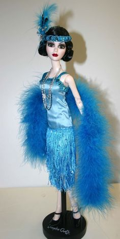 "Blue Note Roaring Twenties Flapper Outfit for 18.25"" Evangeline Ghastly Dolls"