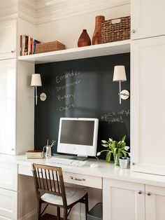 Command Station ~Great idea. Chalkboard paint wall behind desk.