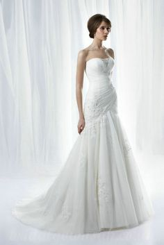 Satin And Tulle Strapless Ruched Handmade Beading Embroidery Amazing Wedding Dress