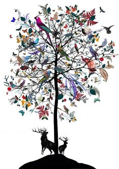 Hjartar Tree by Kristjana S Williams #Illustration #Hjartar_Tree