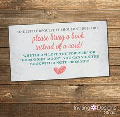 Baby Love Book Request Card in Teal and by InvitingDesignStudio