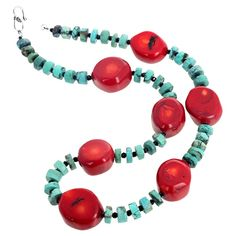 Beautiful polished rounded chunks of natural red Bamboo Coral enhanced with polished slices of natural bluish/greenish Turquoise accented with sparkling gem cut black Spinel set in a 17 inch long necklace with Sterling Silver hook clasp. Beaded Jewelry Designs, Coral Jewelry, Jewelry Ideas, Handmade Jewelry, Chunky Bead Necklaces, Beaded Necklaces, Art Necklaces, Bear Claw Necklace, A 17