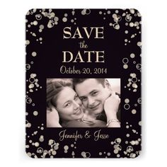 Save The Date Card with Picture - Champagne Bubble Personalized Invite.  $2.45
