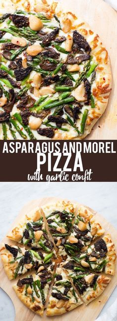 try with low carb crust.This Asparagus and Morel Pizza with Garlic Confit is the perfect way to use your spring produce! Garlicky and cheesey, packed full of flavor and vegetarian! Vegetarian Pizza, Veggie Pizza, Vegetarian Recipes, Pizza Pizza, Delicious Recipes, Pizza Call, Vegetarian Grilling, Healthy Grilling, Pizza Party