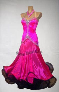 Ballroom+Everday+Standard+Tango+Waltz+Dance+Dress+US+10+UK+12+Bright+Pink+Black+