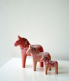 Beautiful set of  Pale Pink genuine Dala by Swedishdalahorse, £62.95