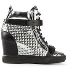 Giuseppe Zanotti Design Concealed Wedge Heel Hi-Top Sneakers ($1,050) ❤ liked on Polyvore featuring shoes, sneakers, grey, giuseppe zanotti sneakers, high top velcro sneakers, grey sneakers, lace up sneakers and leather sneakers