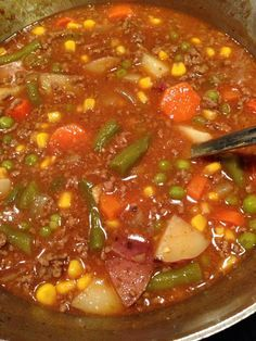 This is Hamburger Stew. Us po' folks grew up on this stuff. Amazing how good it really is. We do not use rice or celery and instead of water we use chicken broth. Plus as you can see we threw in peas, carrots and green beans! You can loosely follow this recipe and get a great stew like mine.