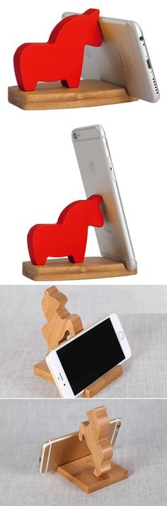 Natural Bamboo Horse Cell Phone Stand Holder