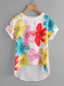 SheIn offers Dolman Sleeve Dip Hem Florals Chiffon Blouse & more to fit your fashionable needs. Floral Chiffon, Chiffon Tops, Chiffon Blouses, Embroidery Suits Punjabi, African Traditional Dresses, Colourful Outfits, T Shirts For Women, Clothes For Women, Simple Dresses
