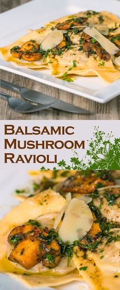 Balsamic and Garlic Mushroom Ravioli Recipe: A grown up Balsamic Mushroom Ravioli that is well worth the effort to make for those of you that love Garlic and Mushrooms! (Butter Substitute For Pasta) Vegetarian Pasta Dishes, Vegetarian Recipes, Healthy Recipes, Pasta Recipes, Dinner Recipes, Cooking Recipes, Cooking Fish, Risotto Cremeux, Balsamic Mushrooms
