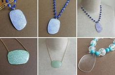 turn your lenses into pendants with simple chains and one very unexpected material. Beaded Jewelry, Beaded Necklace, Necklaces, Eyeglass Lenses, Crafts For Seniors, Recycled Jewelry, Eyeglasses, Jewelery, Fashion Jewelry