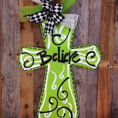 LABOR DAY Sale: Whimsical Believe Cross Wooden Door Hanger Door Decoration // Leopard // Zebra // Giraffe // Polka Dots // Swirls on Etsy, $35.00