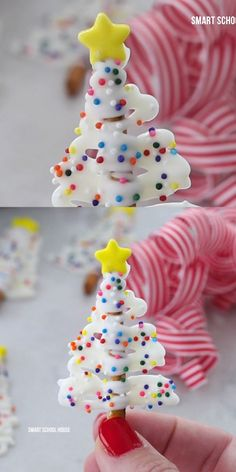 Pretzel Christmas Tree Treats Video - This special Christmas tree treat for kids is so fun and easy to make. Using just a few ingredients - Kids Christmas Treats, Christmas Deserts, Holiday Snacks, Christmas Party Food, Christmas Goodies, Christmas Candy, Homemade Christmas, Christmas Baking, Christmas Dessert For Kids
