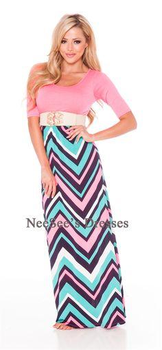 Bright Pink Maxi Dress with Mint, Navy and White Chevron Skirt Modest Fashion, Skirt Fashion, Fashion Outfits, Modest Clothing, Trendy Fashion, Arab Fashion, Pink Fashion, Fasion, Fashion Clothes