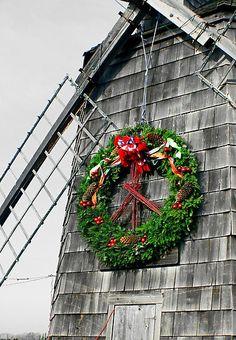 Christmas in windmill, Sag Harbor, New York