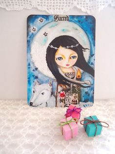 Moon Goddess card  Postcard mixed media art by SusanaTavares, $2.60