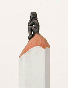 8 esculturas feitas de grafite na ponta de um lápis