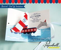 Nautical Invitation. DIY Pop Up Invitation for Nautical birthday party. Personalize 3D Invitation printable with sailboat and dolphin.