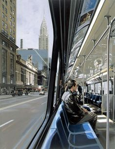 Richard ESTES :: urban landscapes [painting \/screenprint \/oil on canvas \/silkscreen] Pop Art, Anime Comics, Hyper Realistic Paintings, Urban Painting, 42nd Street, A Level Art, Realism Art, Urban Landscape, Art Inspo