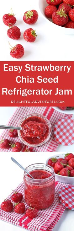 This easy strawberry chia seed refrigerator jam is the easiest jam you can make! There's no boiling involved and it only contains 4 simple ingredients!