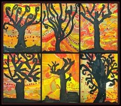 Silhouette Art Ideas For Kids Picasso <b>art</b>, fall paintings and tree <b>silhouette</b> on pinterest