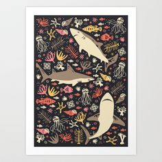 Oceanica Art Print by Anna Deegan - $16.00 More sharks please!