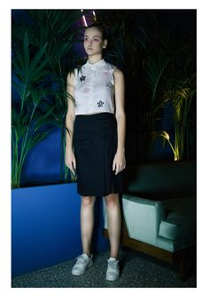 EMBRACE BRAND | SS16 Lookbook | Black Sheer Skirt | White Sheer panel Crop Shirt and Black Skirt | Contemporary Fashion