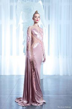 nicolas jebran couture spring 2015 pink illusion sheath gown cape