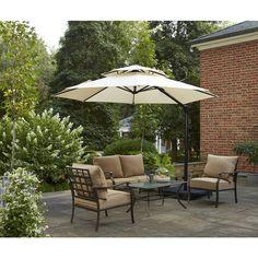 Garden Treasures Round Tan Offset Umbrella With Crank Common 126 In X