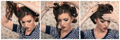 recogido-peinado-pin-up Photomontage, Freckled Fox, Sweet Hairstyles, Victory Rolls, Glamorous Hair, Hairstyle Look, Girl Fashion, Fashion Tips, Hair Looks
